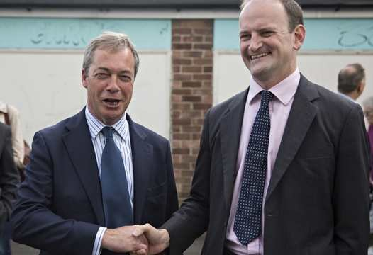 UKIP leader Nigel Farage (left) in Masonic grip with UKIP MP Doug Carswell (right)